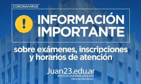 Comunicado sobre exámenes, inscripciones y horarios de atención