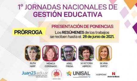 1° Jornadas de Gestión Educativa: Prórroga para la presentación de resúmenes